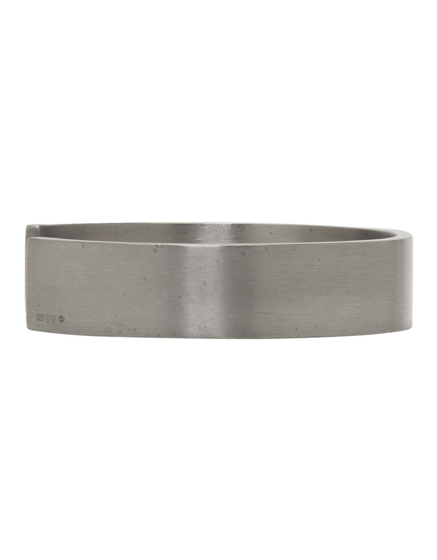 LE GRAMME Black Silver Brushed 'Le 33 Grammes' Bracelet