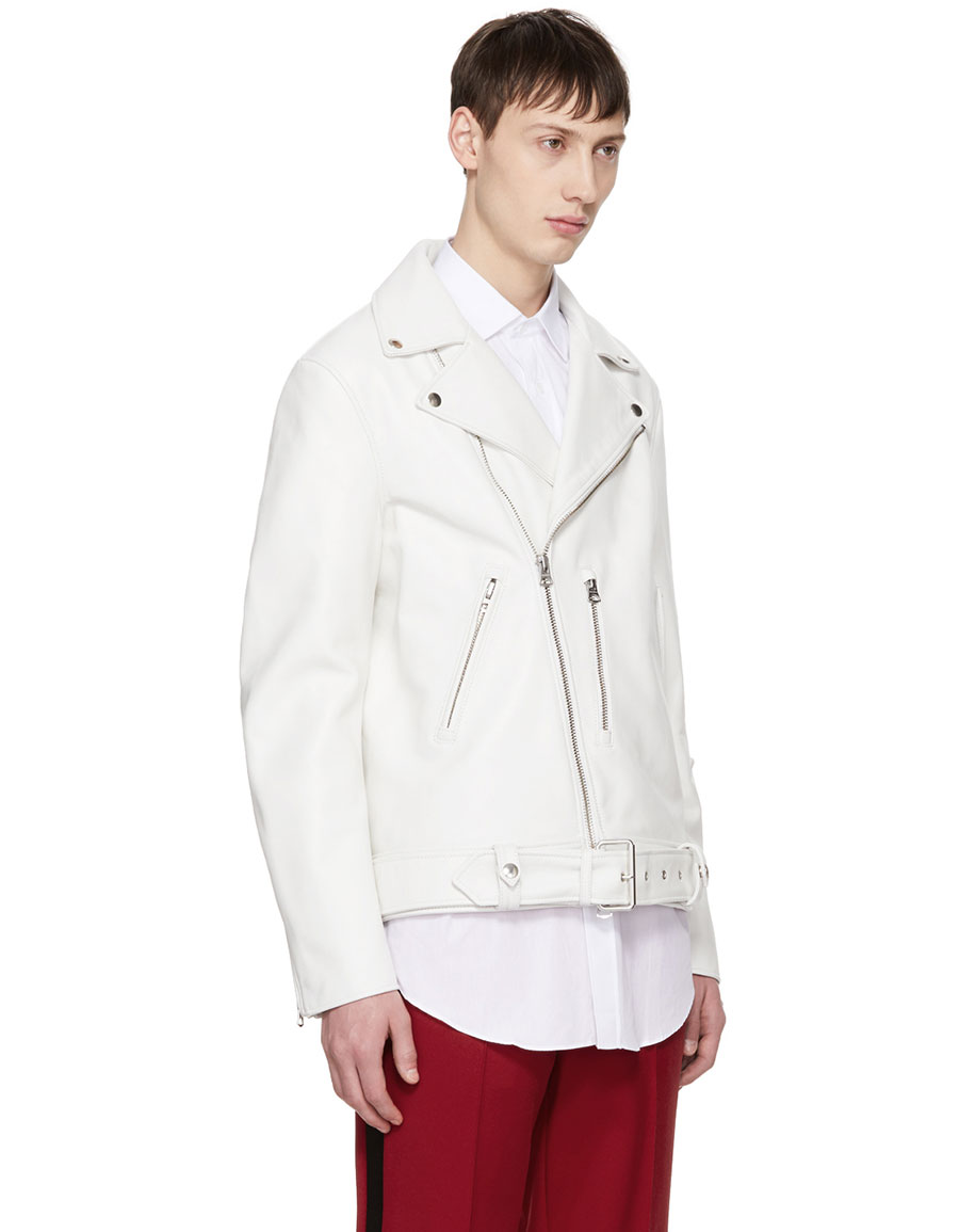 ACNE STUDIOS White Leather Nate Clean Jacket