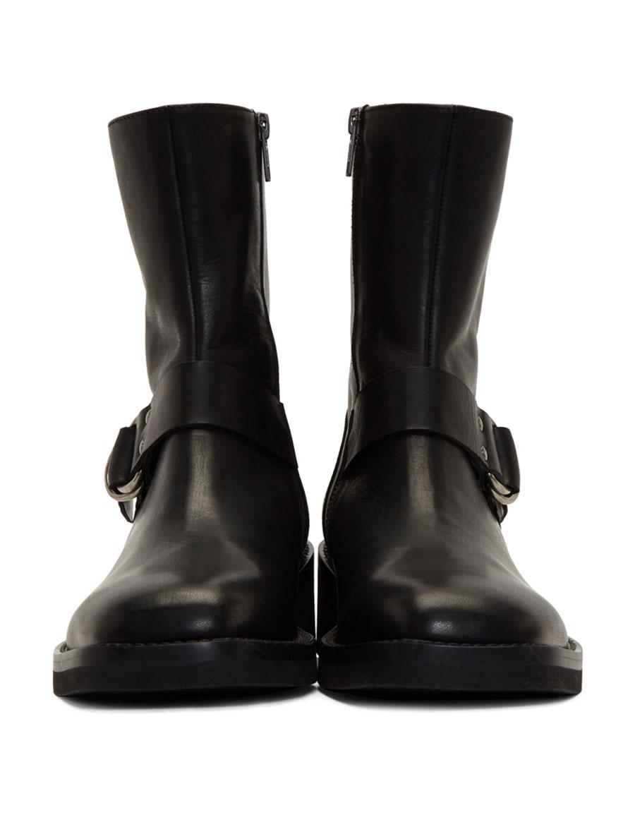 ANN DEMEULEMEESTER Black Buckle Boots