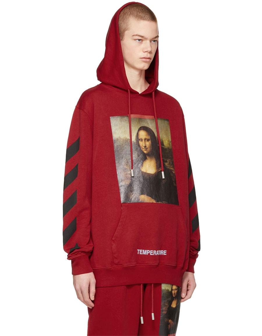 OFF WHITE Red Diagonal Monalisa Hoodie
