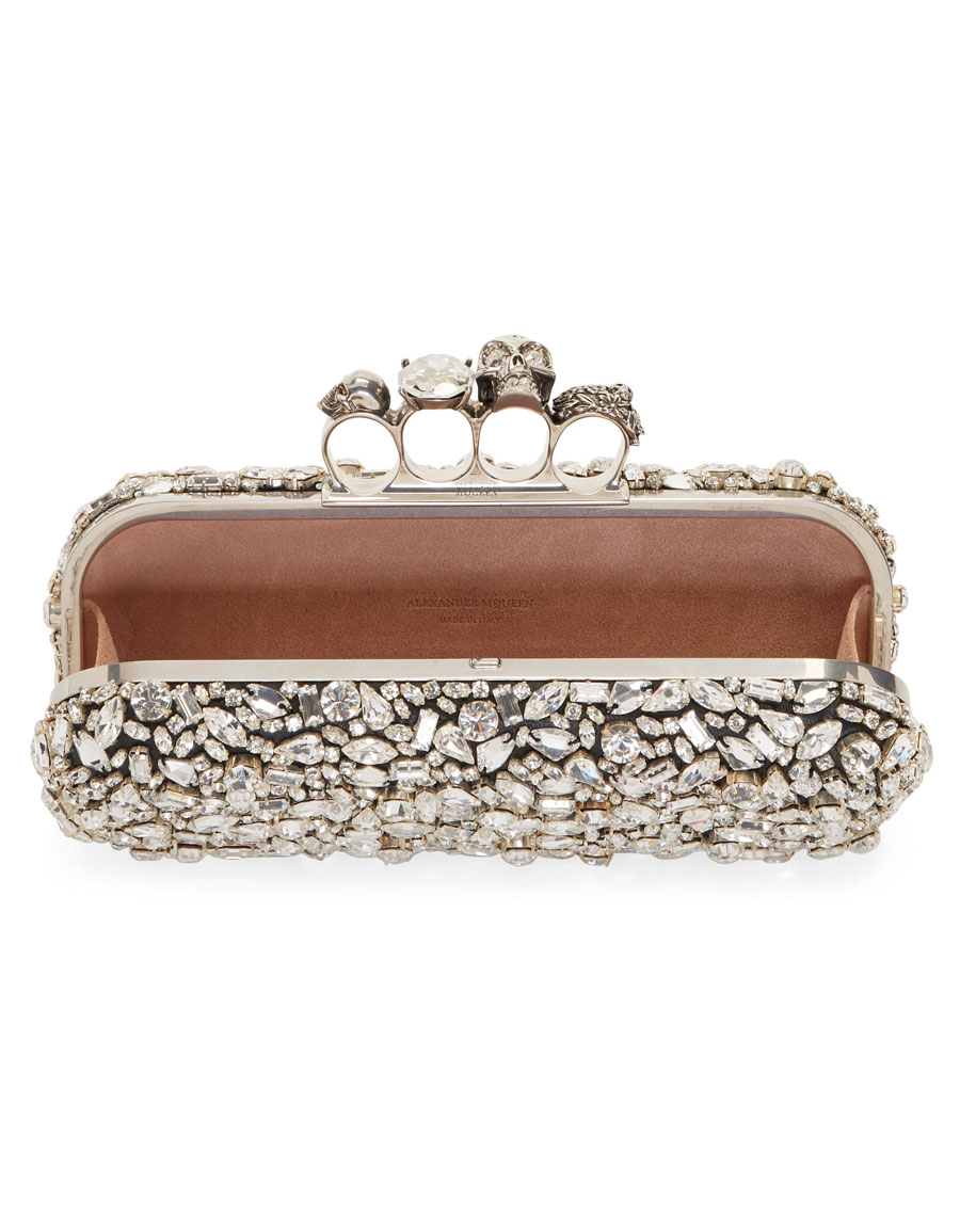 ALEXANDER MCQUEEN Black Crystal Knuckle Box Clutch