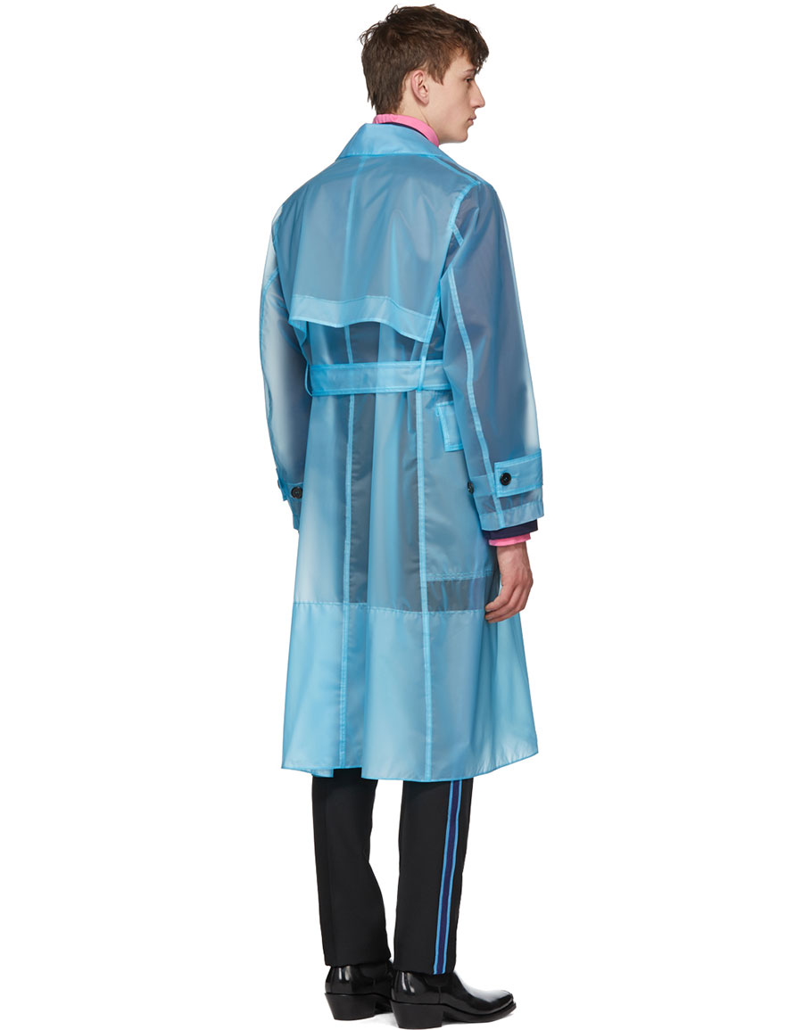 CALVIN KLEIN Blue Long Plastic Coat