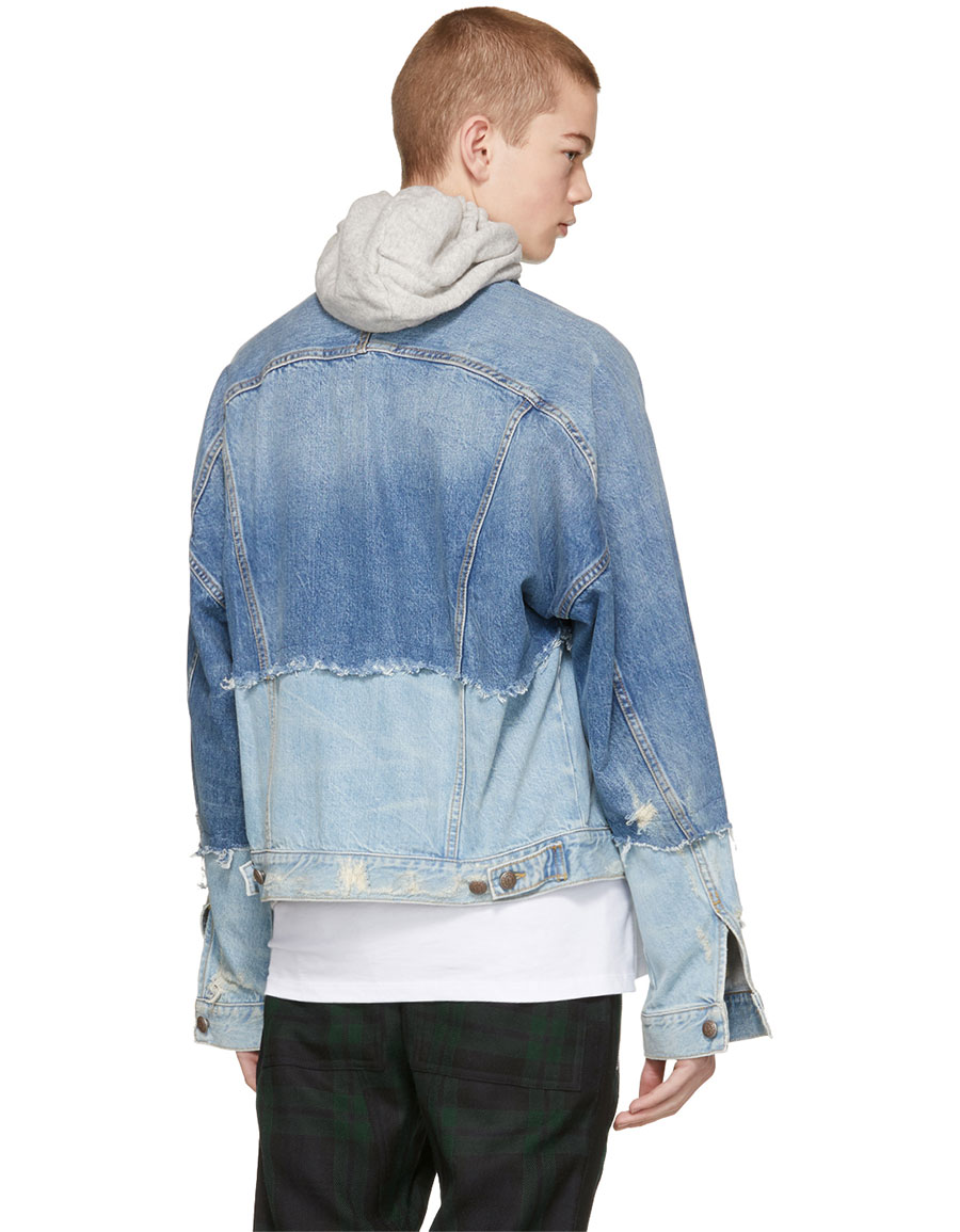 R13 Blue Denim Double Shredded Raglan Trucker Jacket