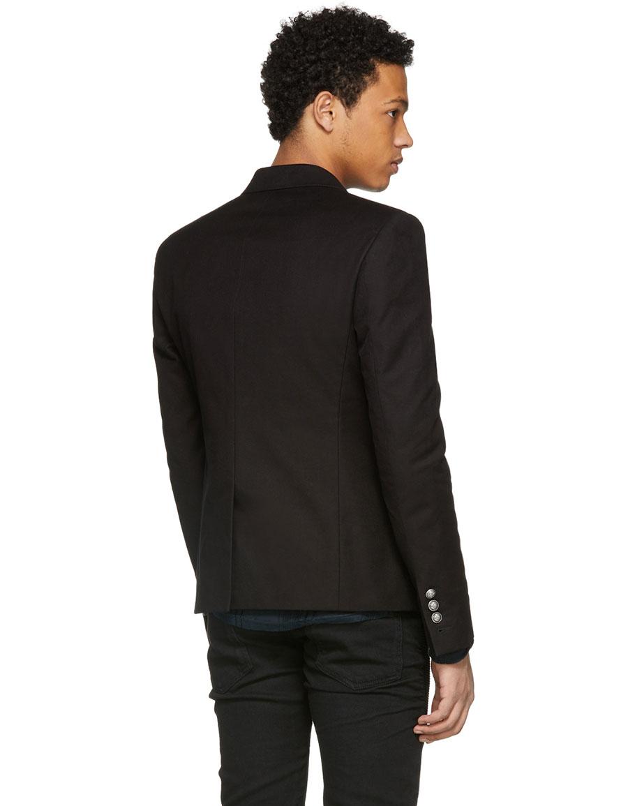 BALMAIN Black Cotton Six Button Blazer