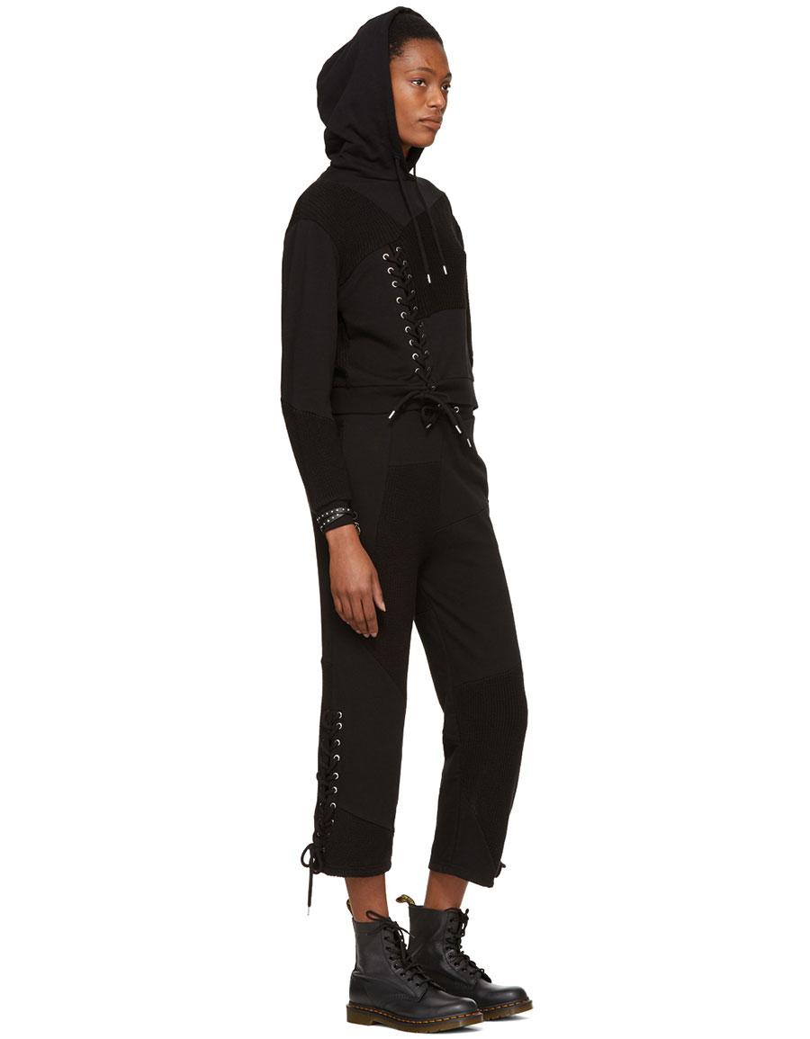 ALEXANDER MCQUEEN Black Patch Boyfriend Lounge Pants