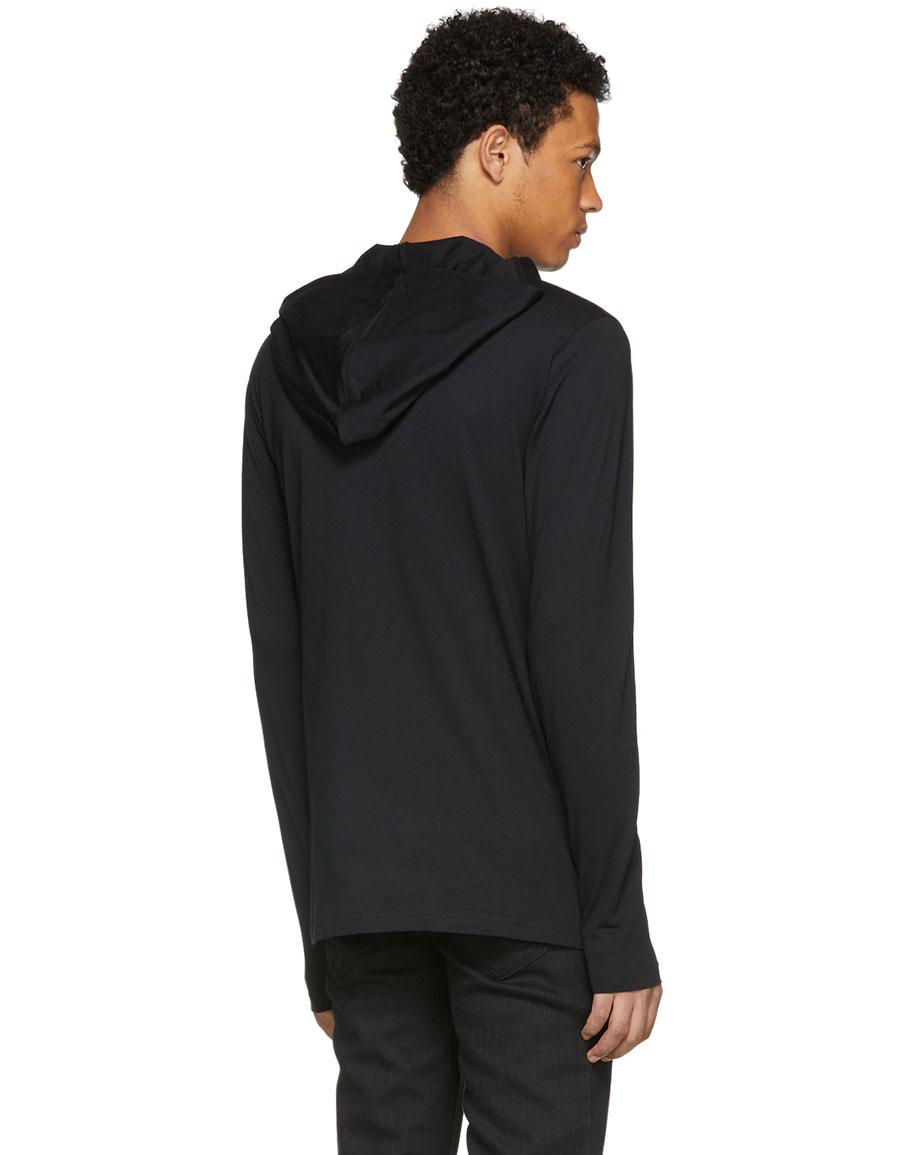BALMAIN Black Jersey Logo Hoodie