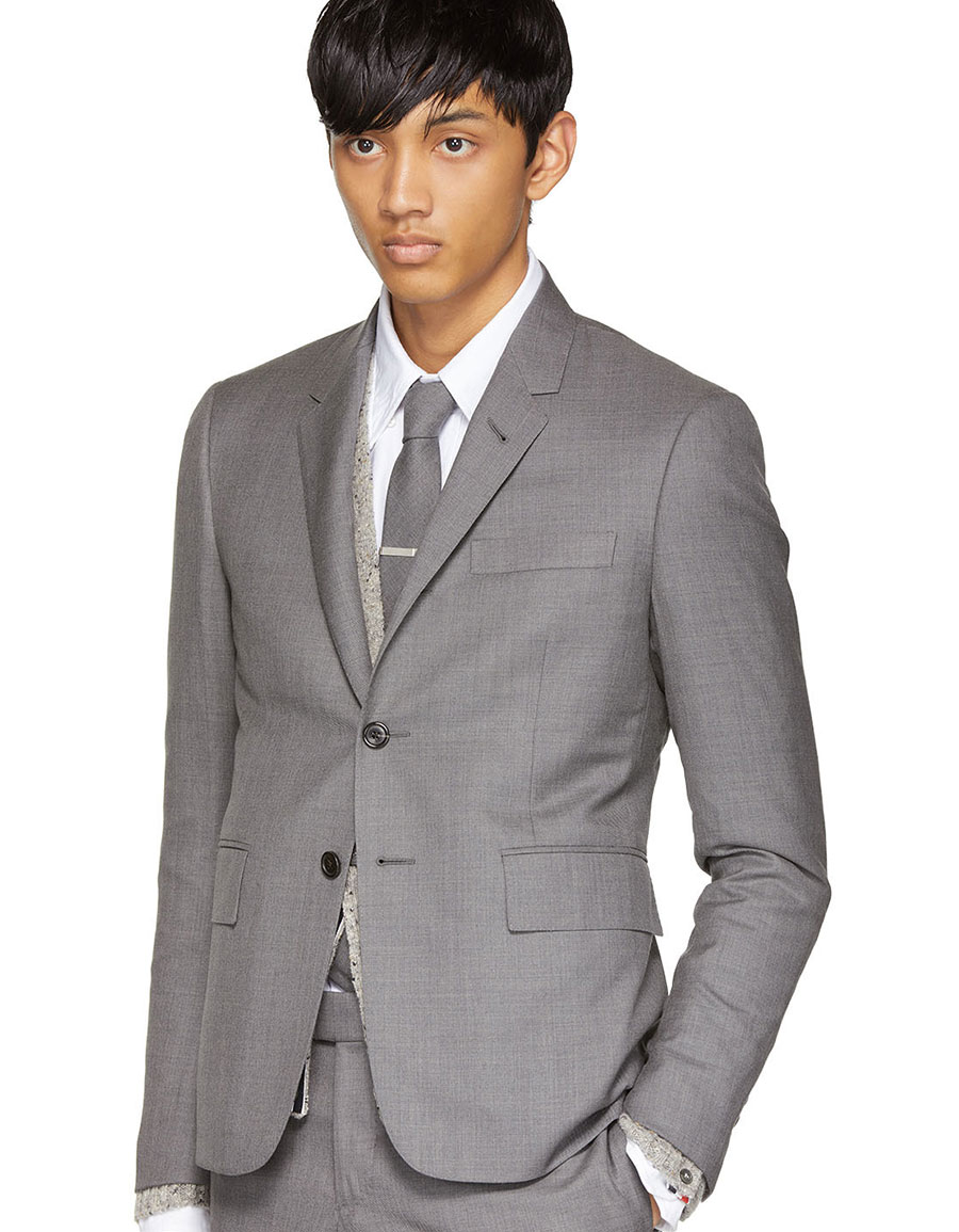 THOM BROWNE Grey High Armhole Suit