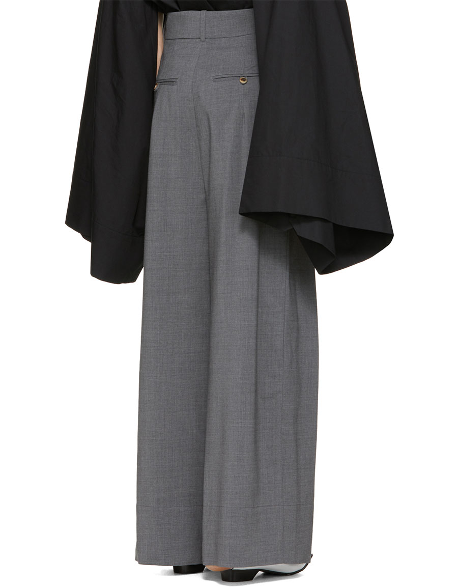 A.W.A.K.E. Grey Double Pleated Trousers