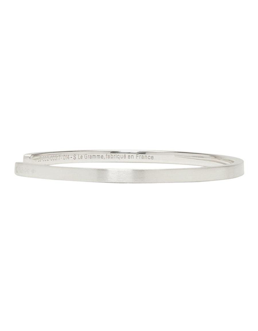 LE GRAMME Silver Brushed 'Le 7 Grammes' Bracelet
