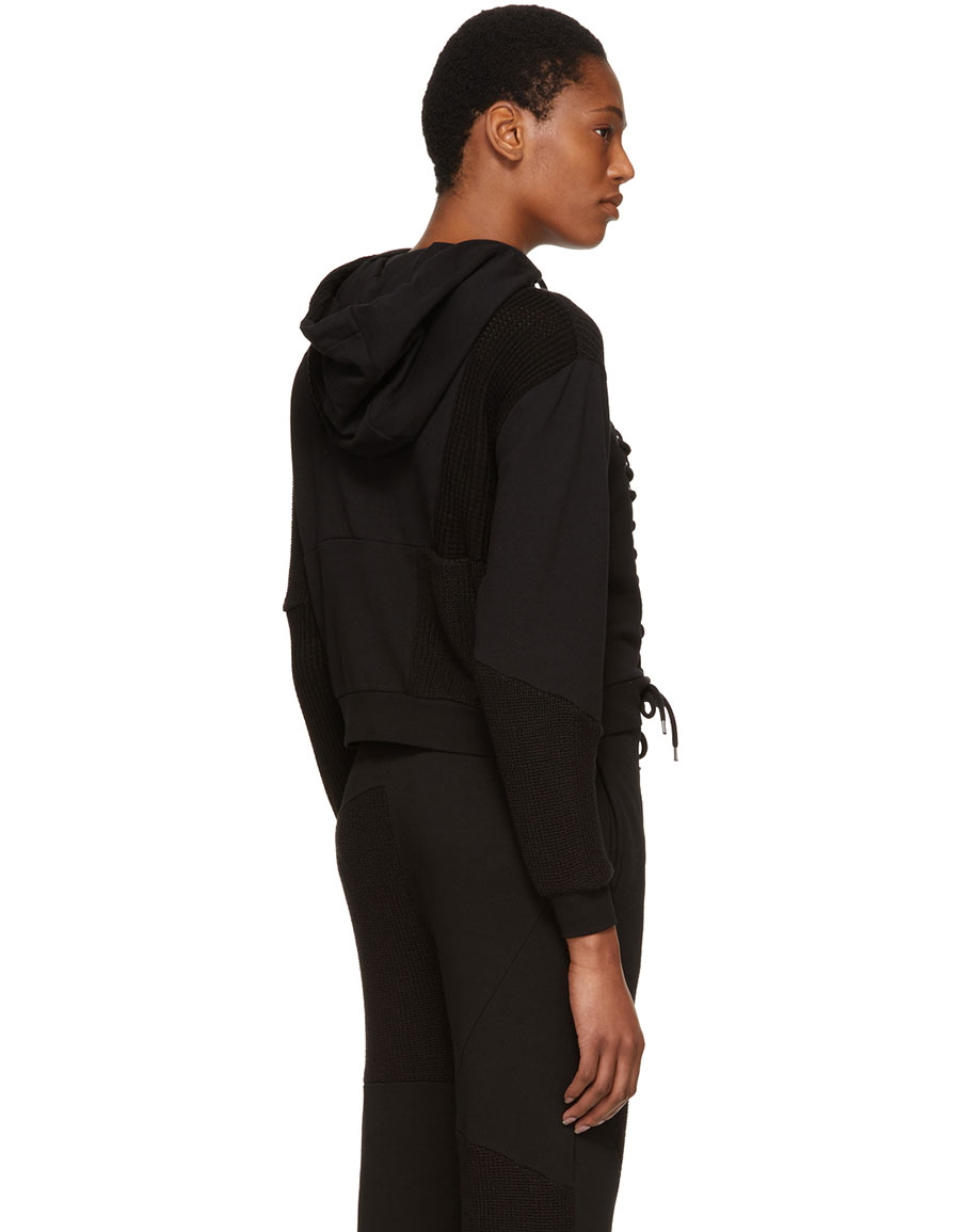ALEXANDER MCQUEEN Black Lace Patched Hoodie