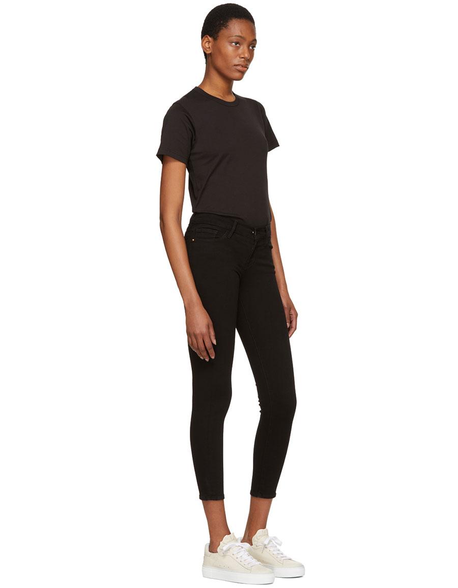FRAME DENIM Black 'Le Skinny de Jeanne Crop' Jeans
