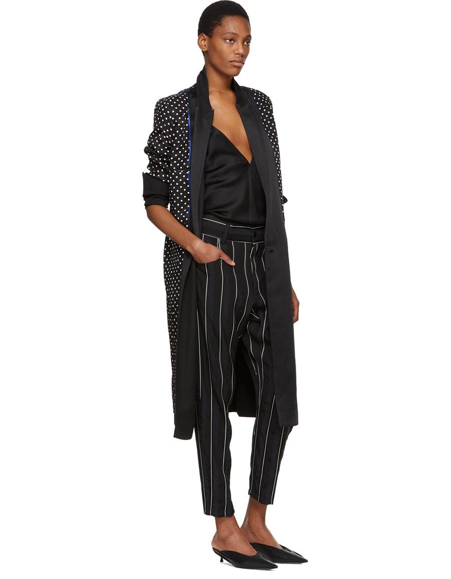 HAIDER ACKERMANN Black & White Stripe Kunzite Trousers