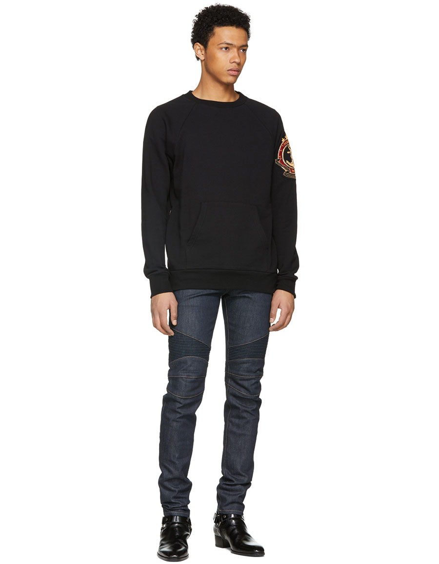 BALMAIN Blue Raw Denim Biker Jeans