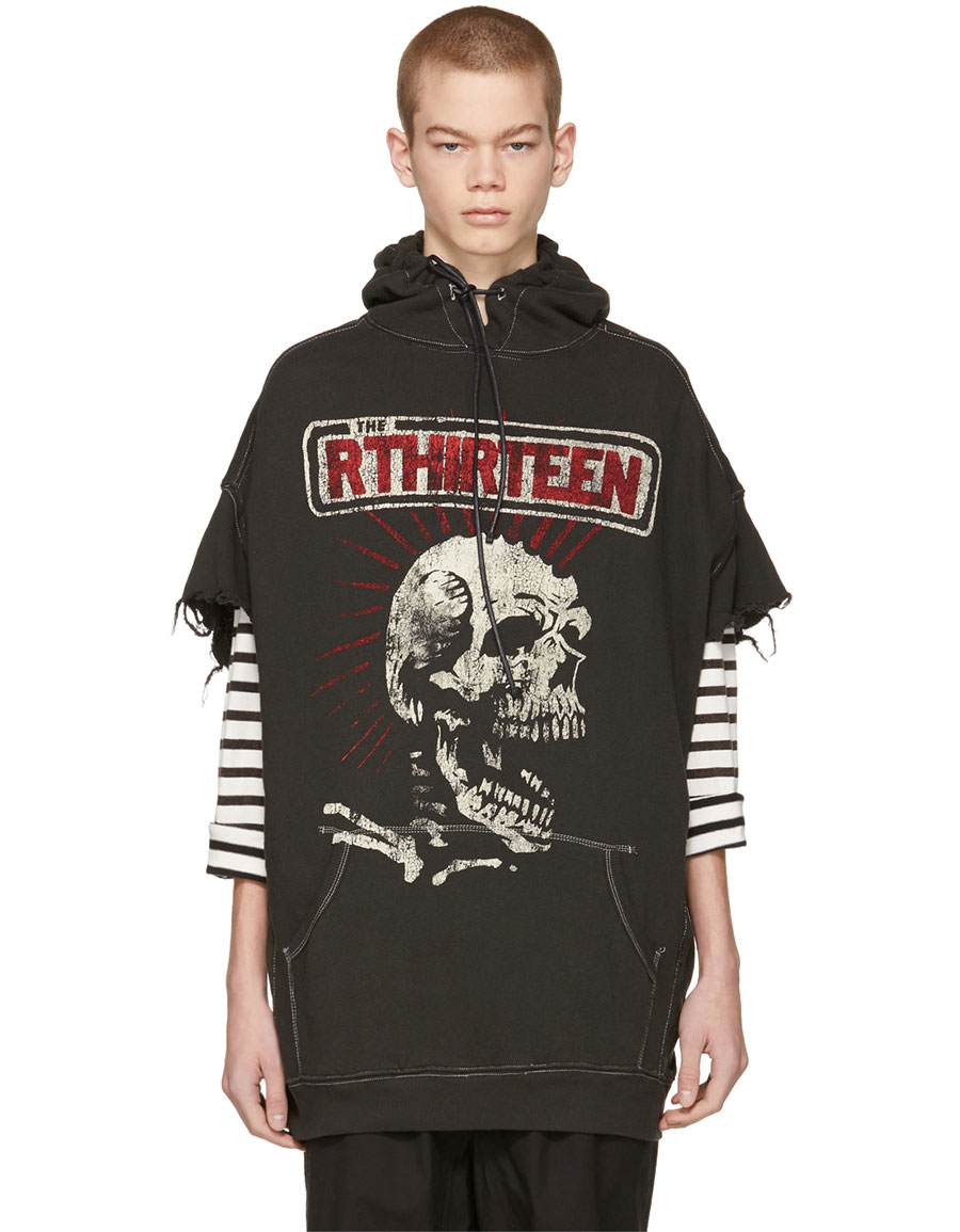 R13 Black Co Oversized 'The Rthirteen' Cut Off Hoodie