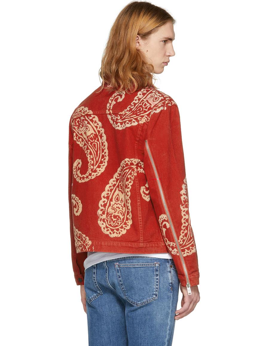 424 Red Paisley Denim Trucker Jacket
