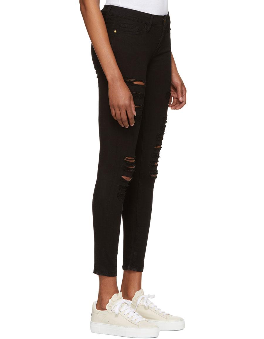 FRAME DENIM Black 'Le Skinny de Jeanne' Jeans