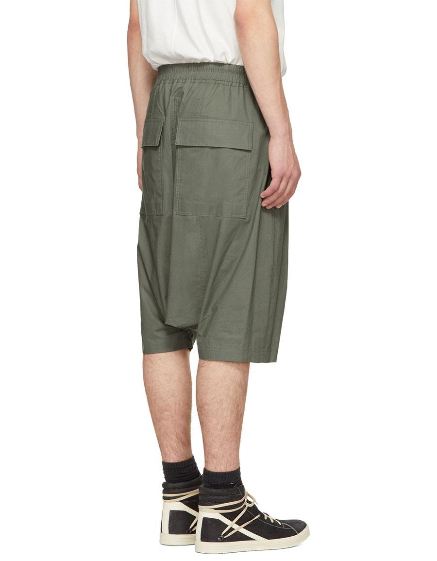 RICK OWENS Green Rick's Pods Shorts