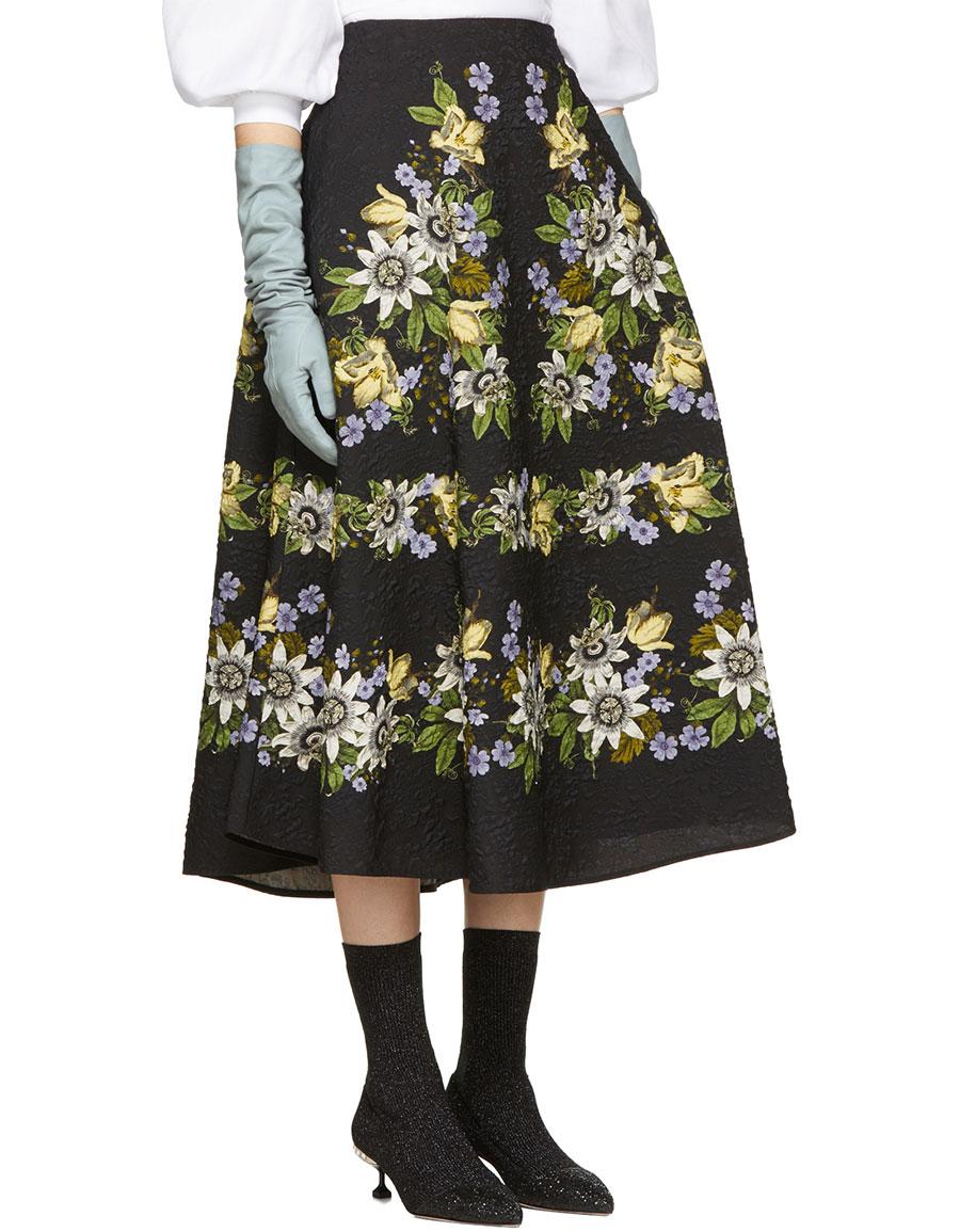 ERDEM Black Floral Matelassé Tiana Skirt