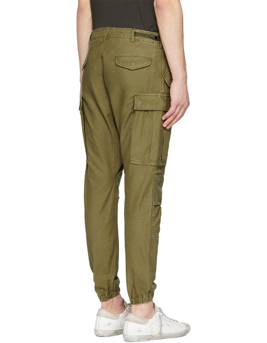 R13 Green Surplus Military Cargo Pants