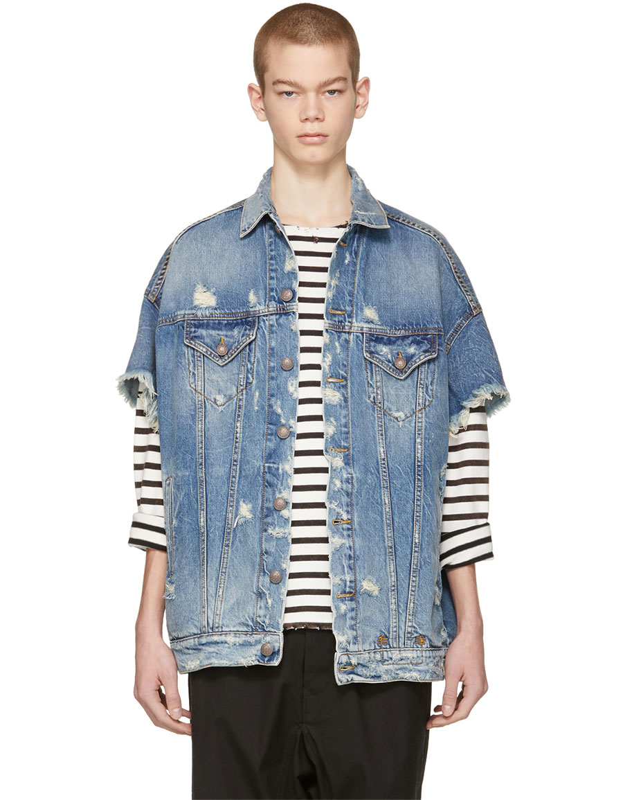 R13 Blue Denim Oversized Cut Off Trucker Jacket