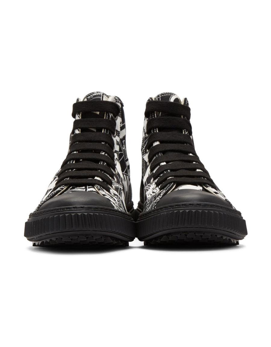 PRADA Black & White Comic High Top Sneakers