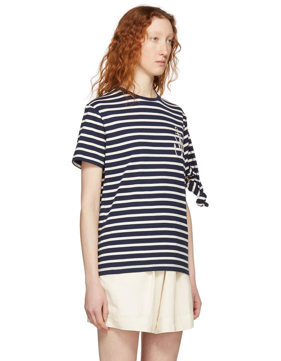 JW ANDERSON Navy Breton Stripe Knot T Shirt