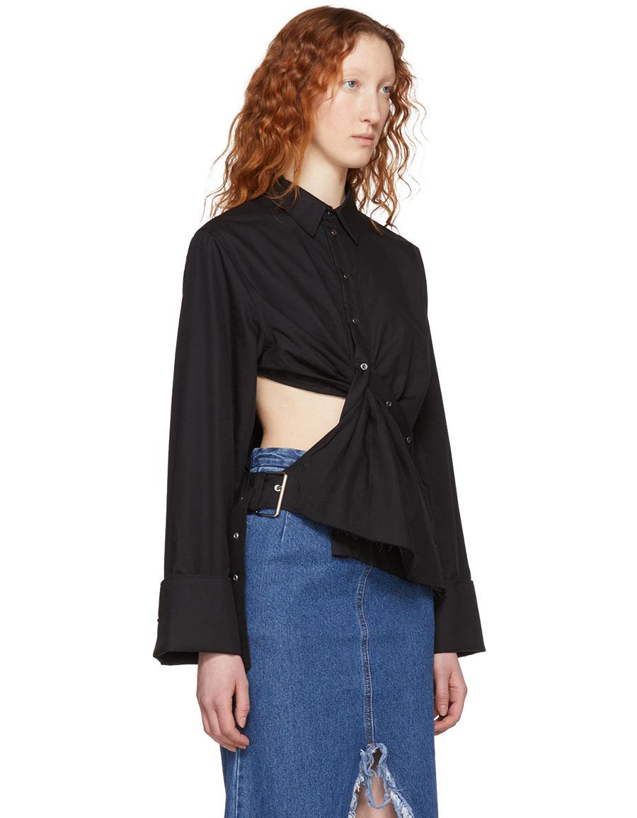 MARQUES ALMEIDA Black Draped Cut Out Shirt