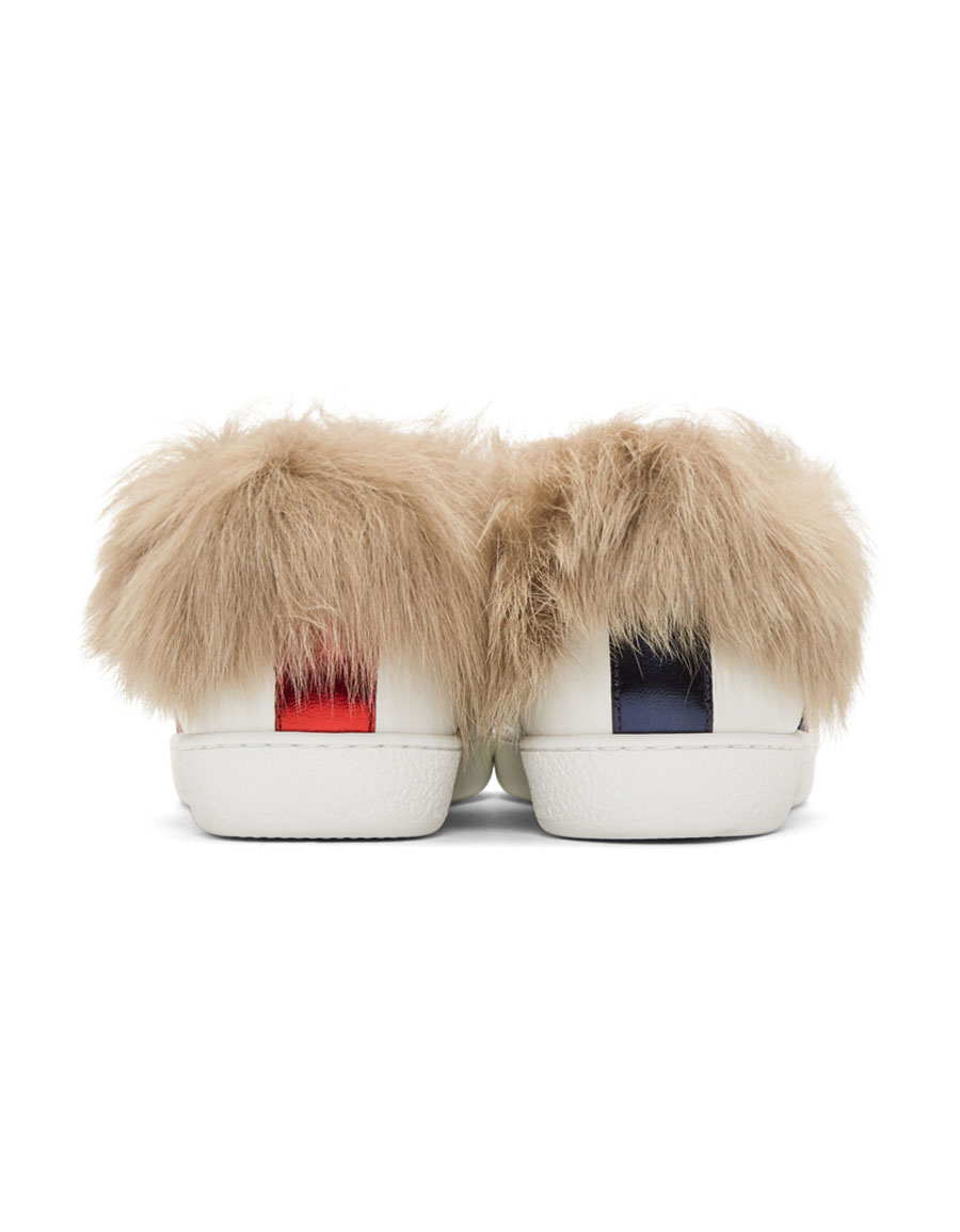 GUCCI White New Ace Fur Sneakers