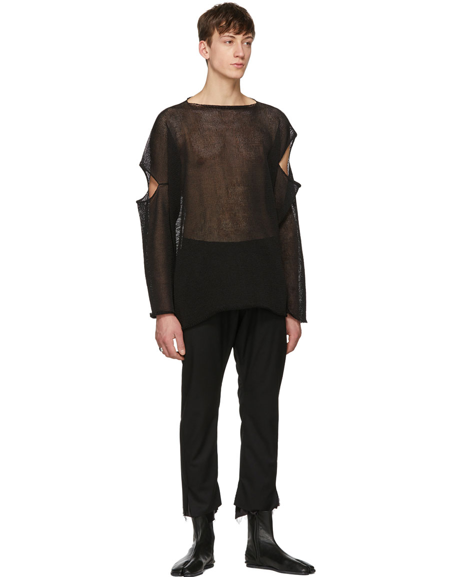 SULVAM Black Slash Sleeves Pullover