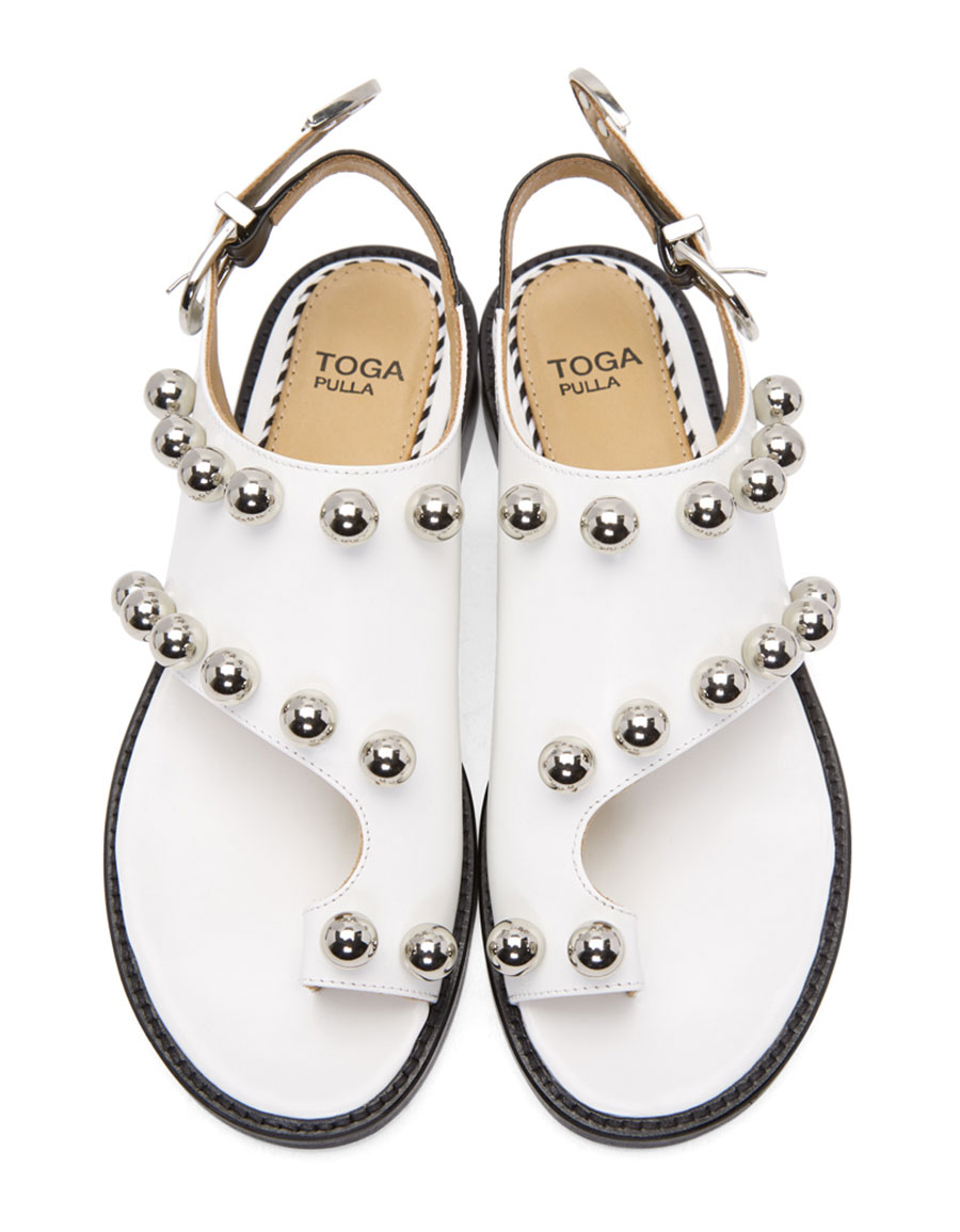 TOGA PULLA White Studded Sandals