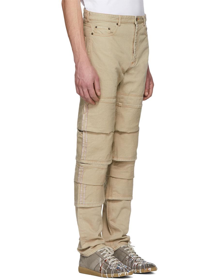 Y/PROJECT Beige Triple Cuff Jeans