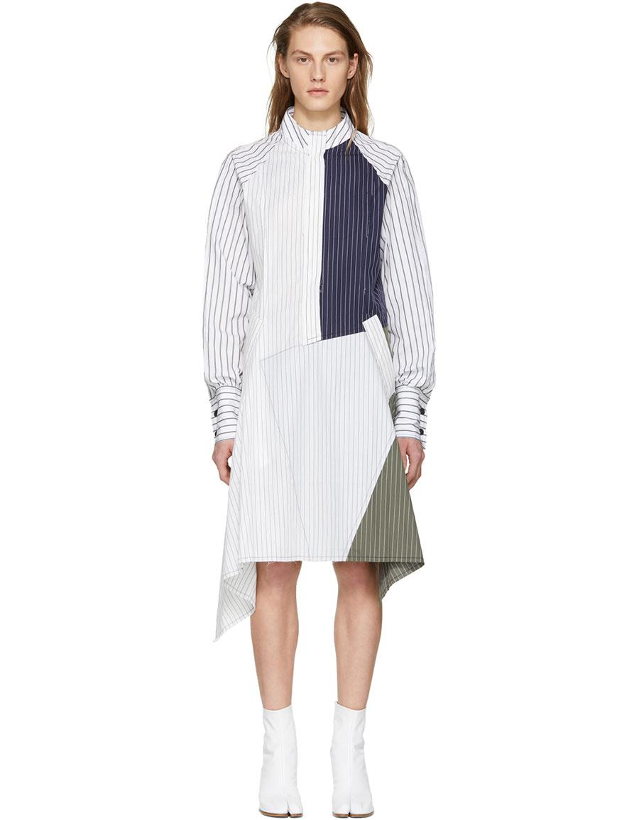 JW ANDERSON White Patchwork Shirt Dress