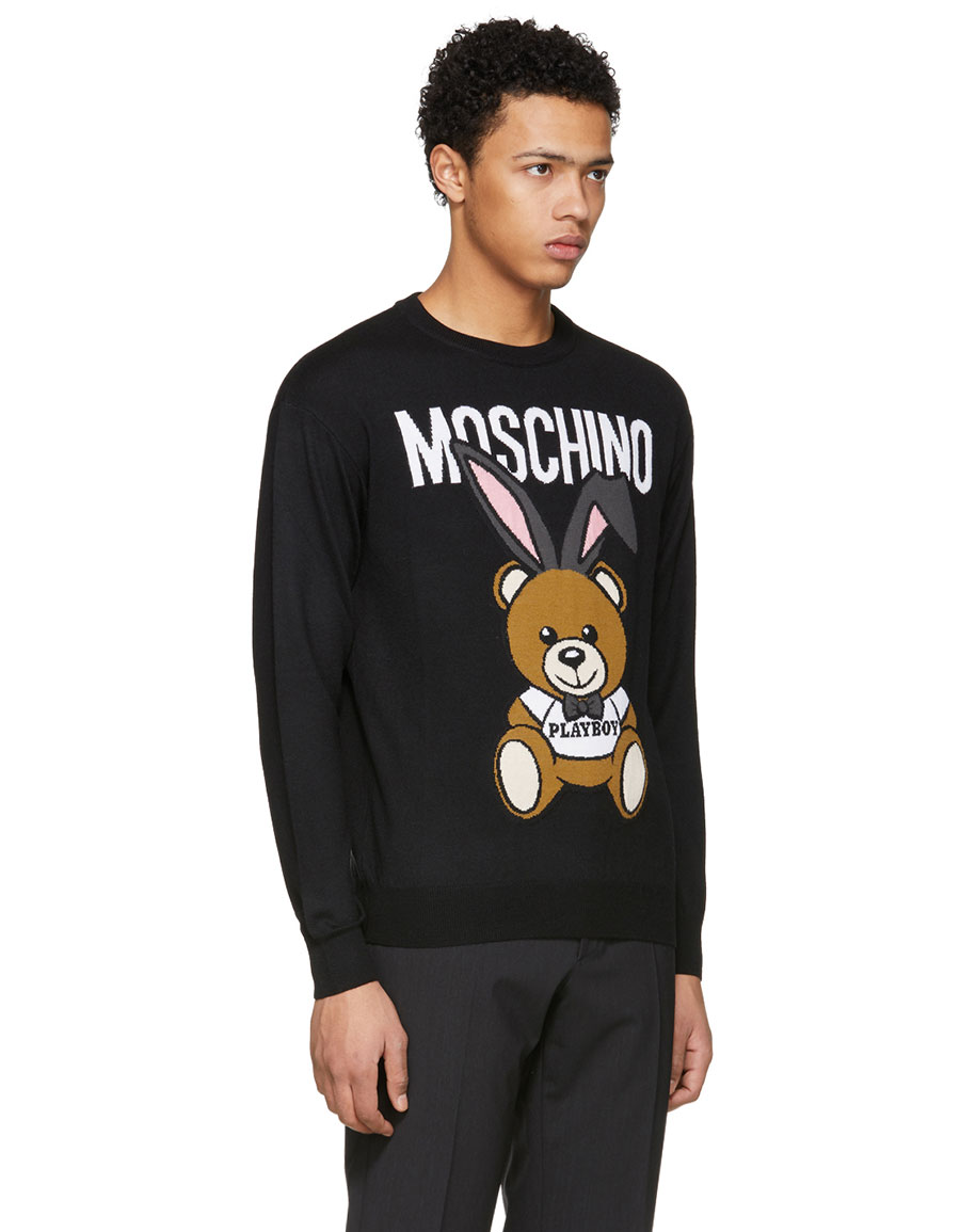 MOSCHINO Black 'Playboy' Teddy Bear Sweater