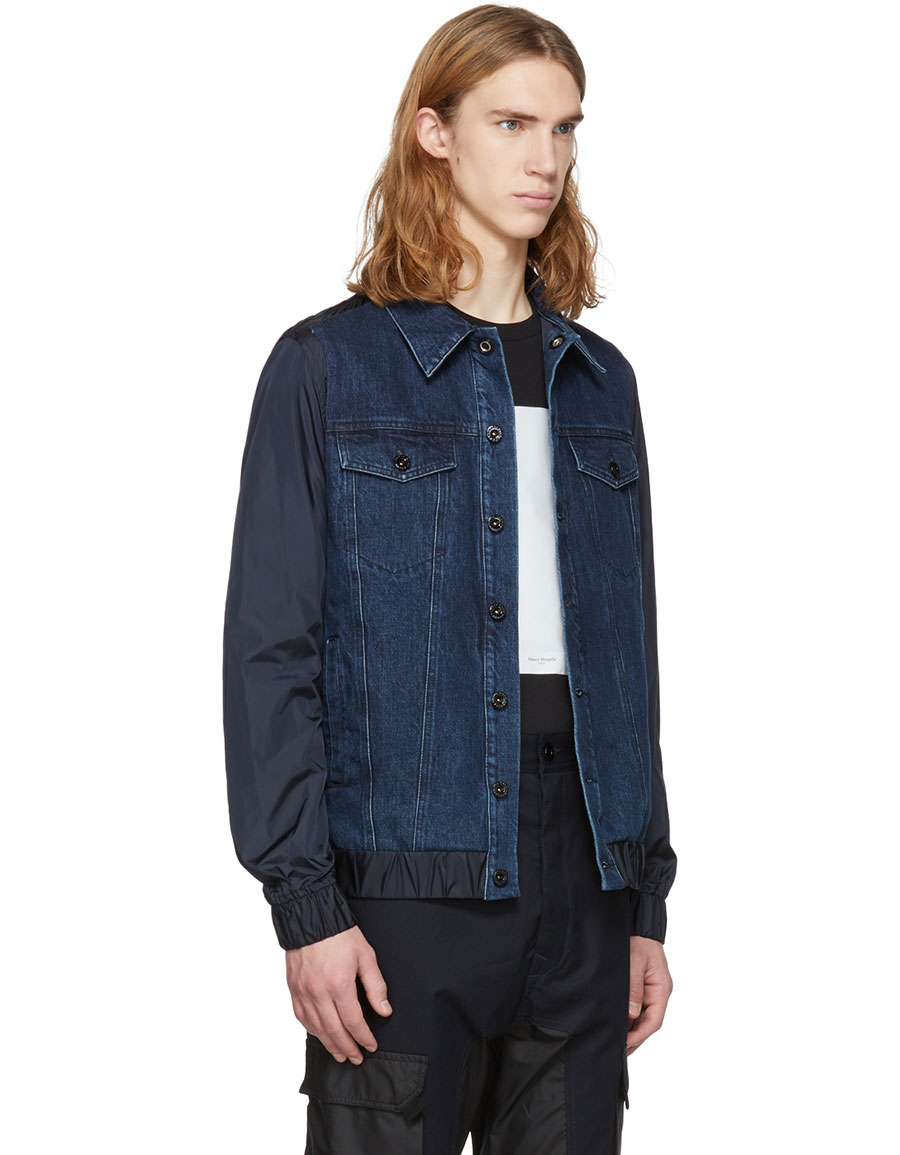 DIESEL Black Gold Blue Denim & Nylon Jacket