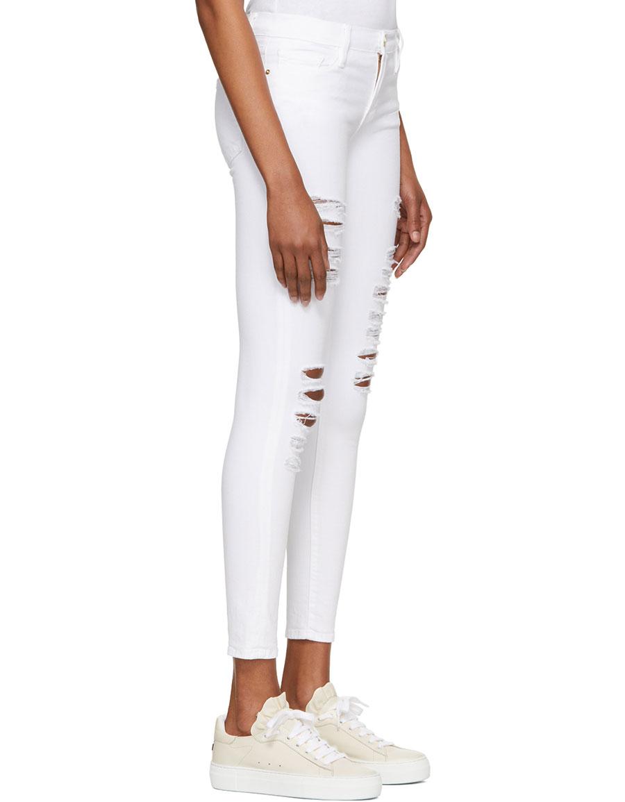 FRAME DENIM White 'Le Skinny de Jeanne' Jeans