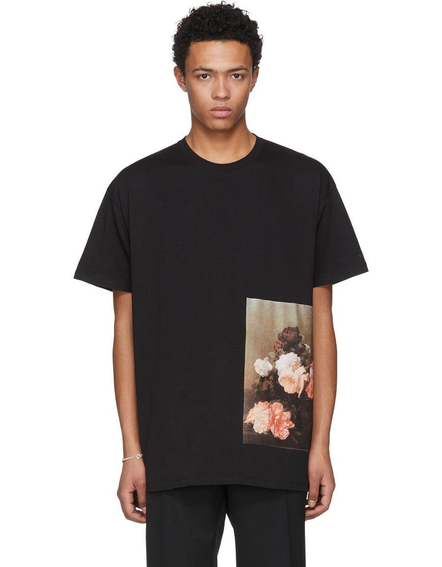 RAF SIMONS Black Flowers T Shirt