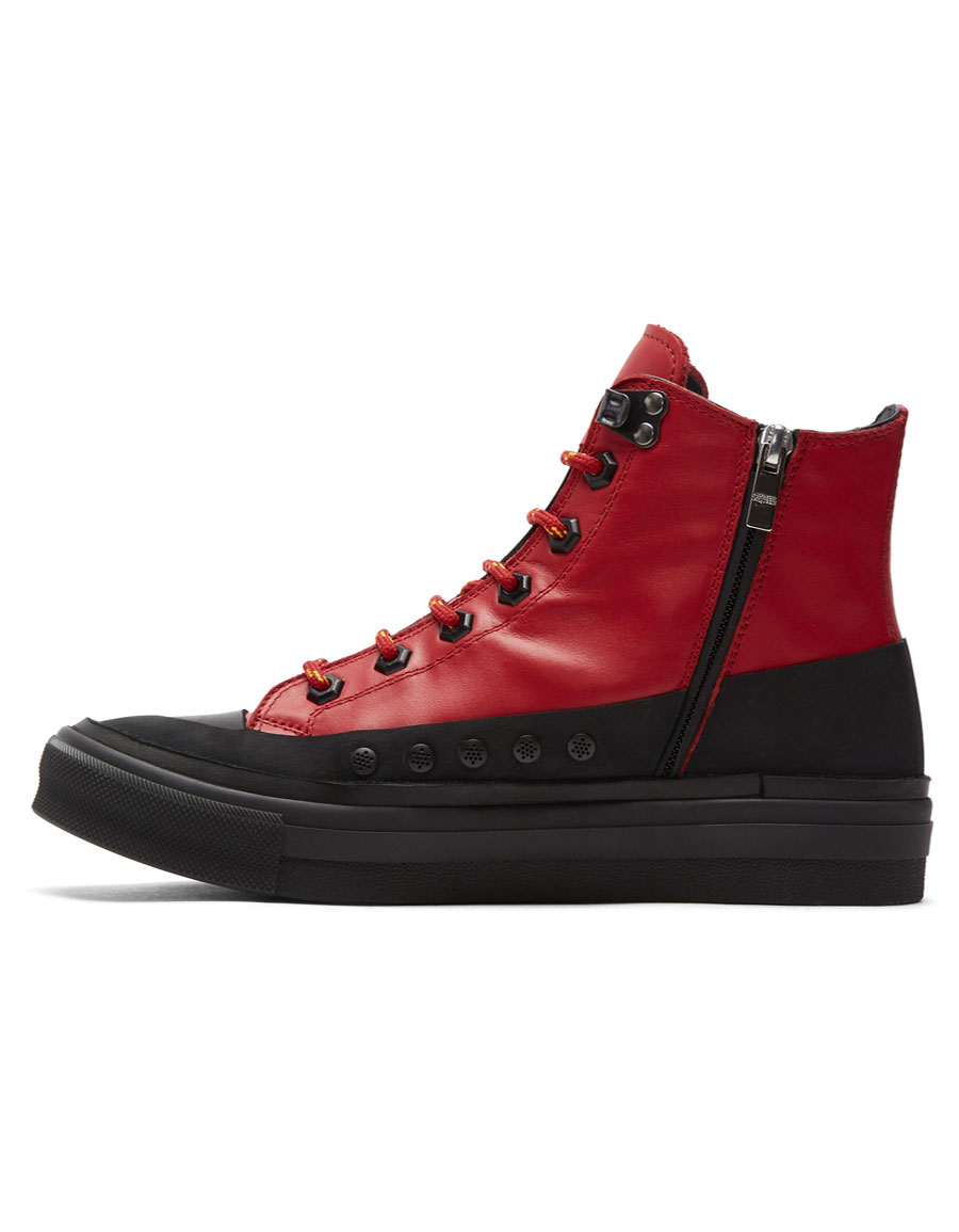ALEXANDER MCQUEEN Red Leather Skeleton Patch High Top Sneakers