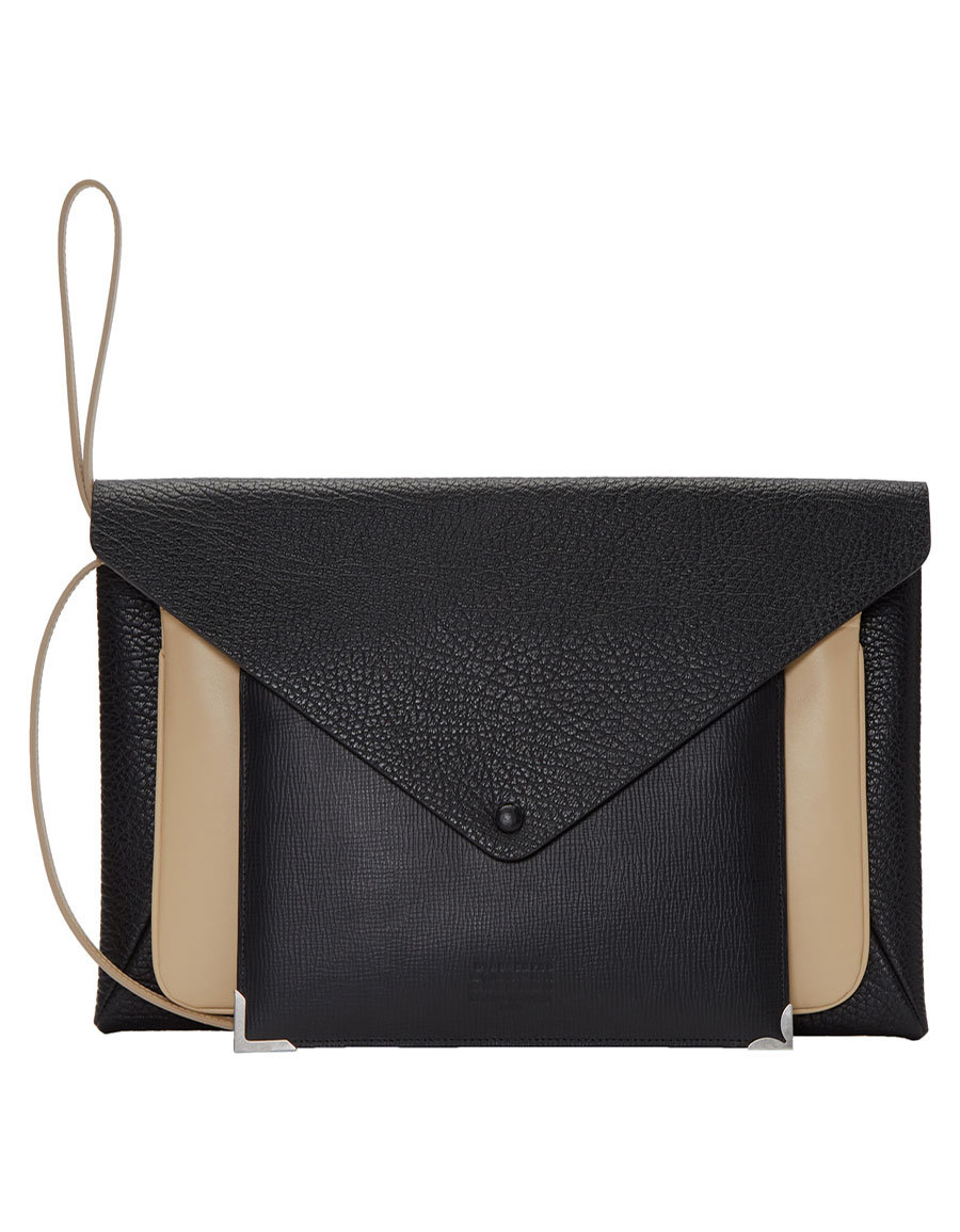 MAISON MARGIELA Black & Beige Three Piece Clutch