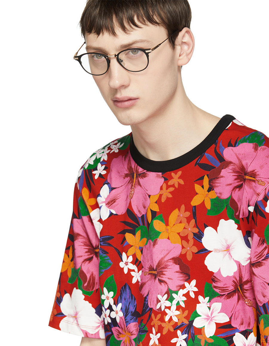 AMI ALEXANDRE MATTIUSSI Red All Over Flower T Shirt