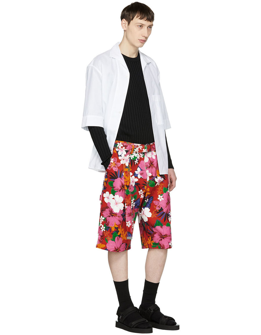 AMI ALEXANDRE MATTIUSSI Red Floral Worker Shorts