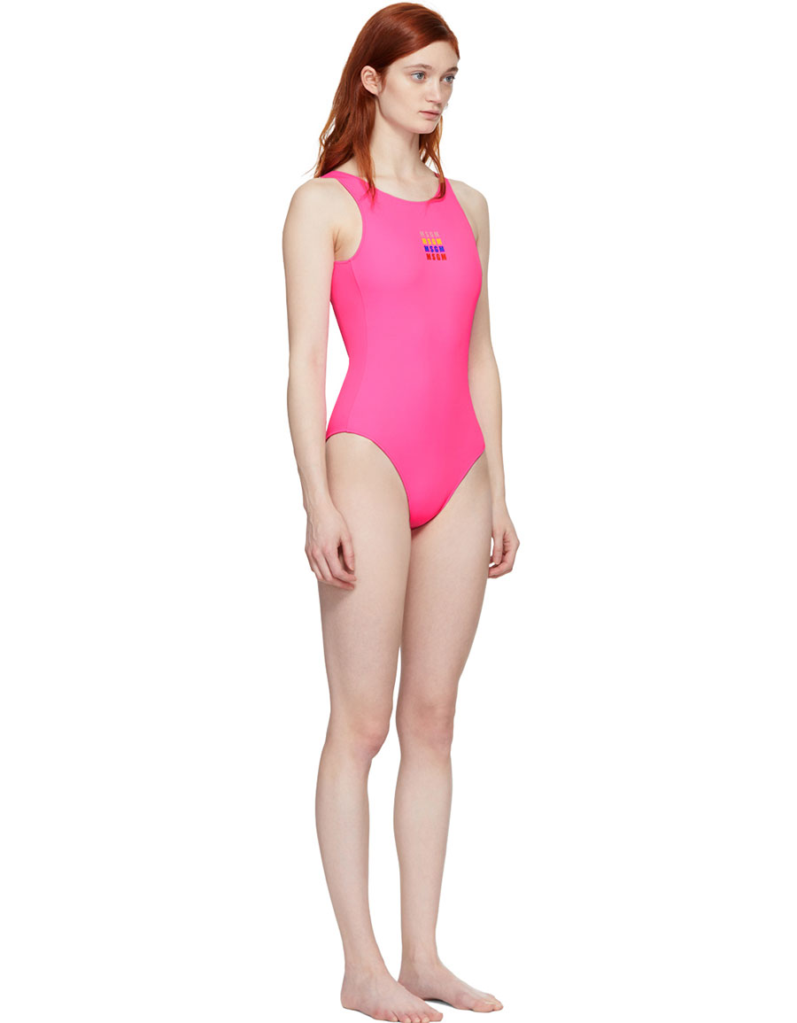 MSGM Pink Logo Swimsuit