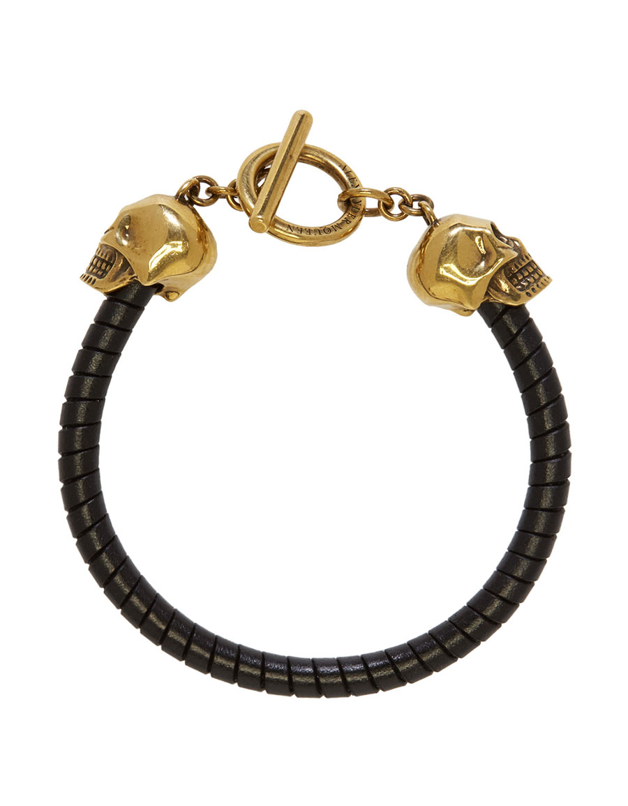 ALEXANDER MCQUEEN Black T Bar Skull Bracelet