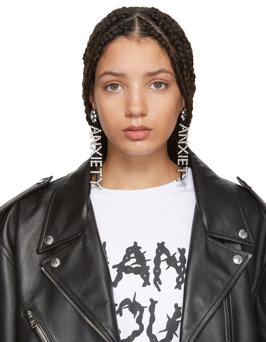 ASHLEY WILLIAMS SSENSE Exclusive Black 'Anxiety' Earrings