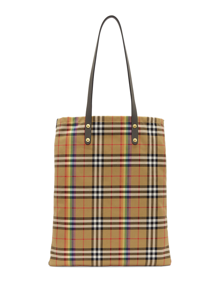 BURBERRY Beige Large Vintage Rainbow Check Shopper Tote