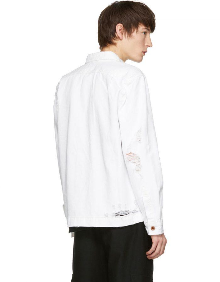 DIESEL White Distressed D Elov Denim Jacket