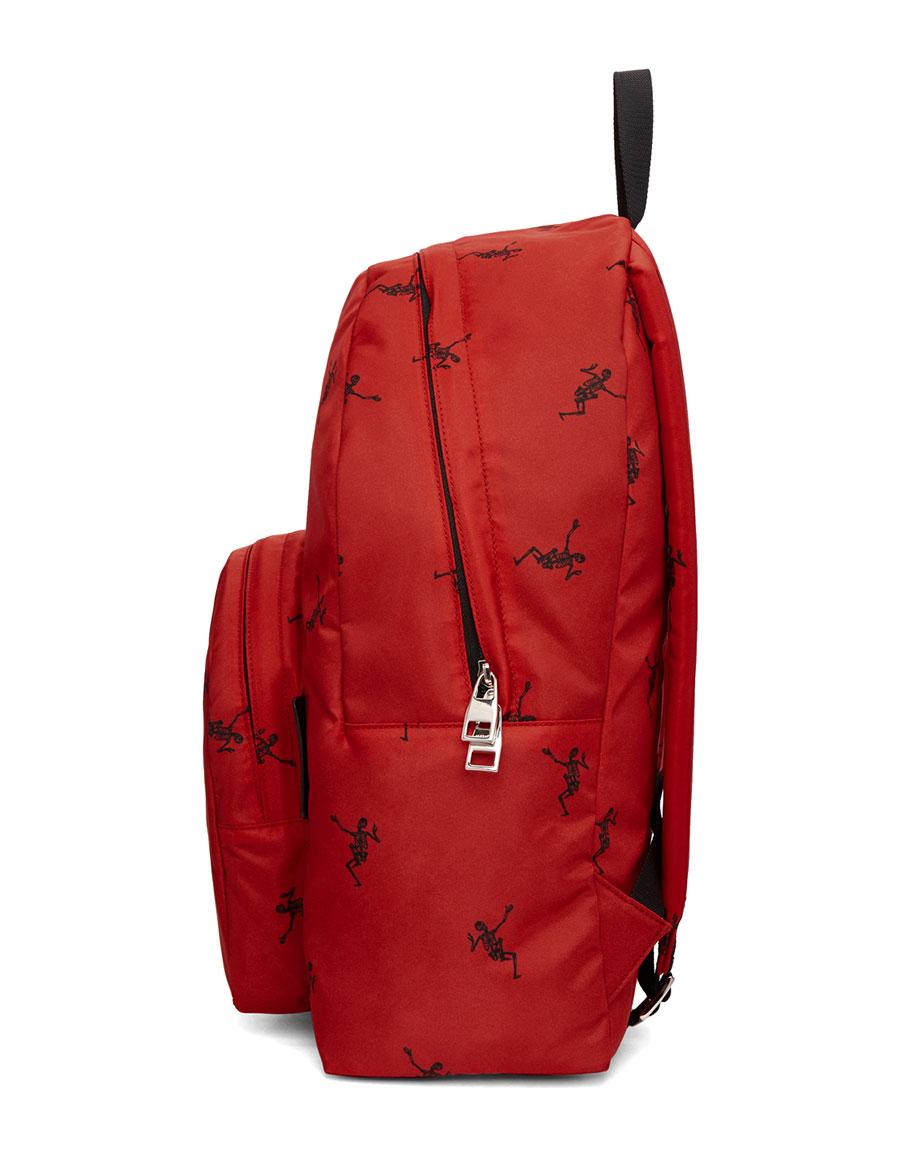 ALEXANDER MCQUEEN Red & Black Small Dancing Skeleton Backpack