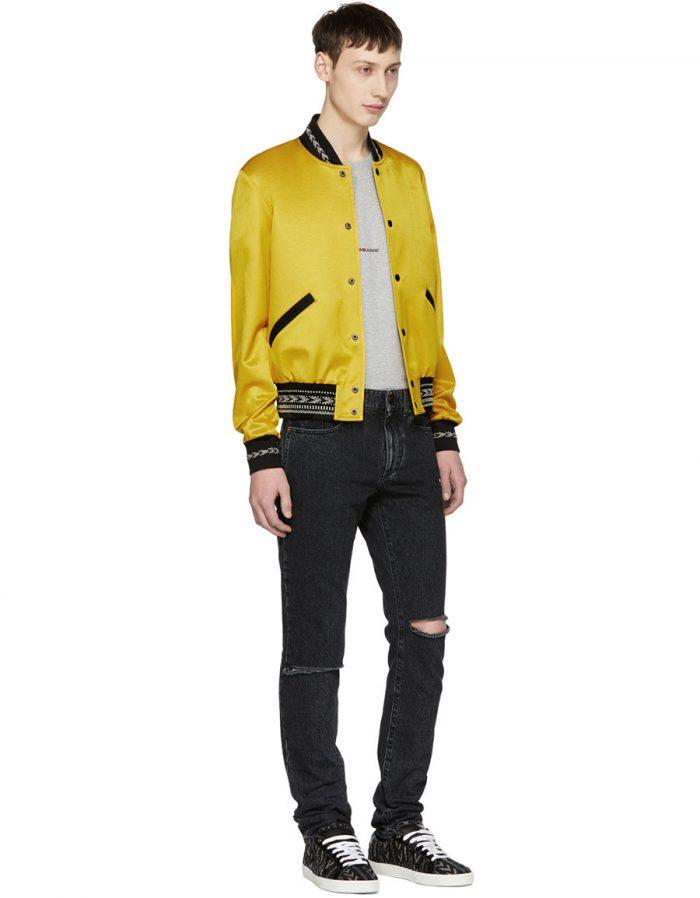SAINT LAURENT Yellow Ikat Teddy Bomber Jacket