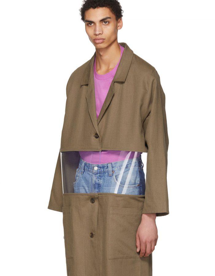 BLESS Beige Cotton & Vinyl Transparent Work Coat