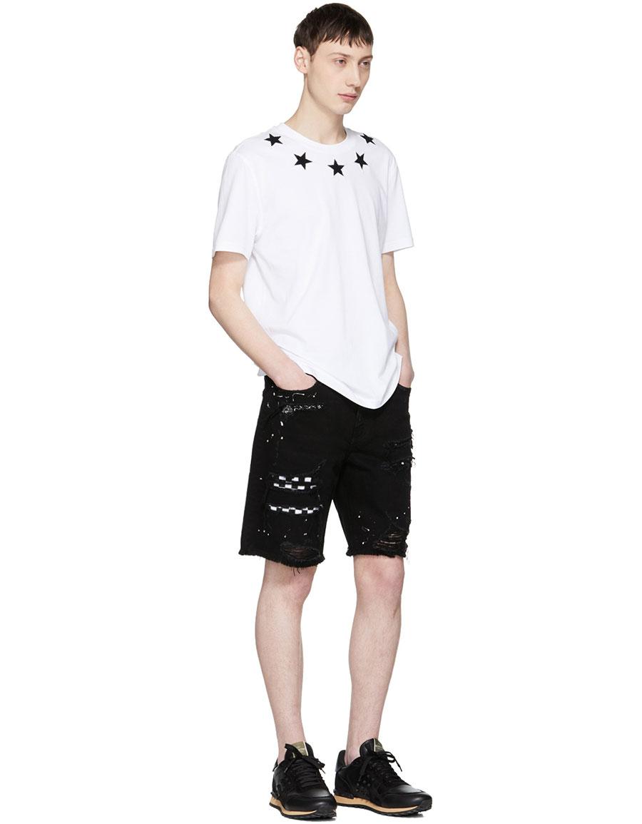 AMIRI Black Art Patch Denim Shorts