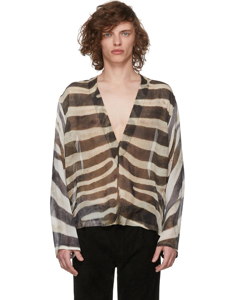 SAINT LAURENT Tan Animal Print Tunic Shirt
